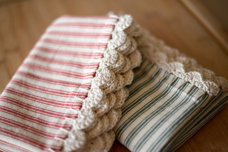 I need these. ticking kitchen towels with crocheted edges