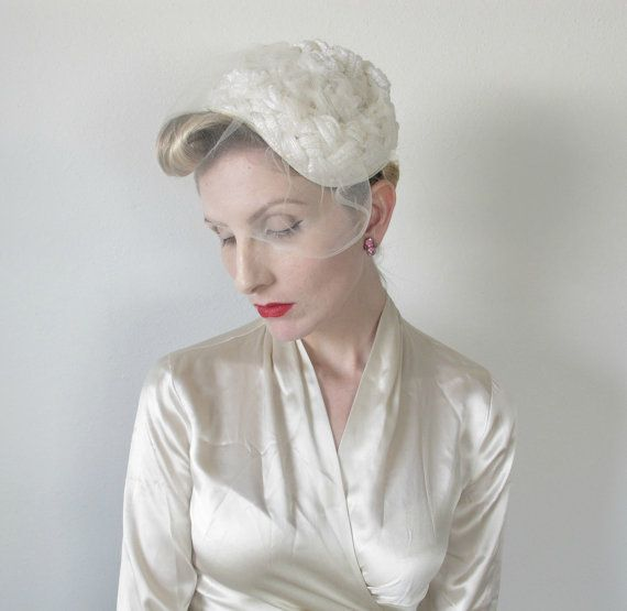 1950s Hat Vintage Bridal Fascinator Wedding Veil By HighHatCouture 3999