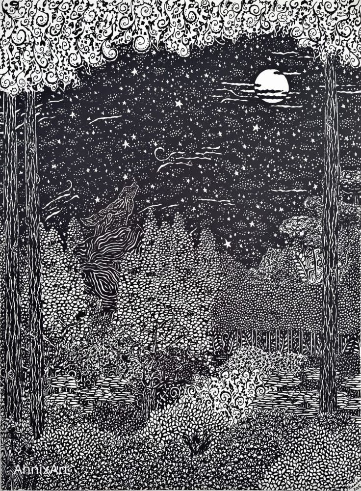 Detailed black and white drawing of a howling wolf. Starry night time forest illustrations. Art by AnnixArt.
