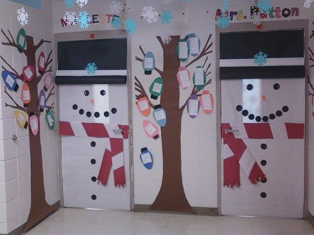 """classroom door decorations for winter. snowman doors with """"poet trees. Just have students make new poems each month.I hung snowflakes from the ceiling also"""