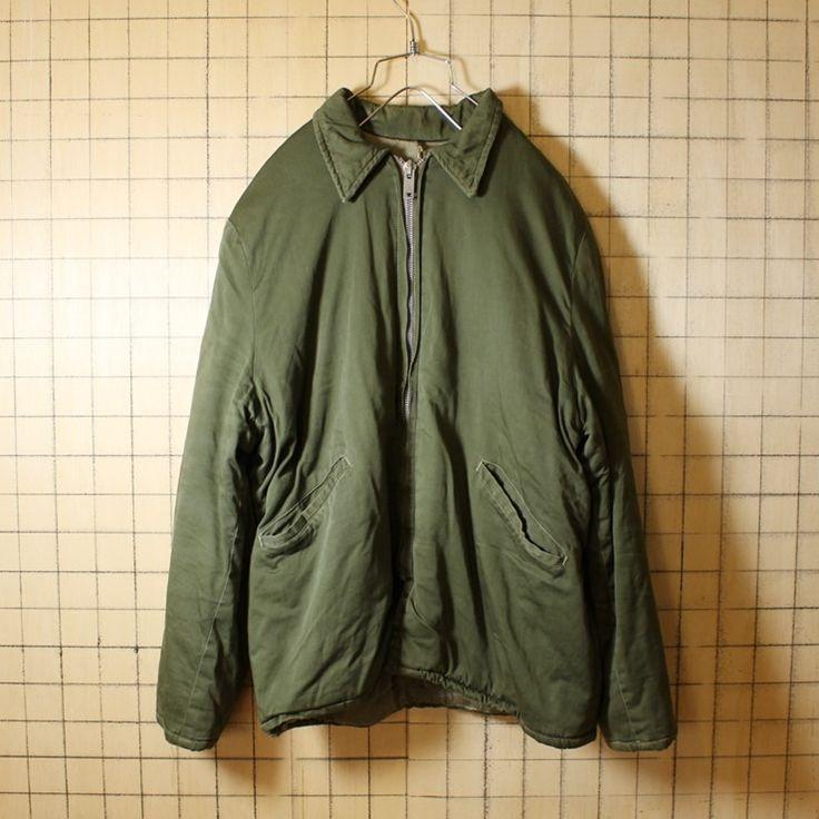 40s-50s USA製 ビンテージ古着 カーキ グリーン 中綿 ジャケット メンズL相当 CROWNジップ