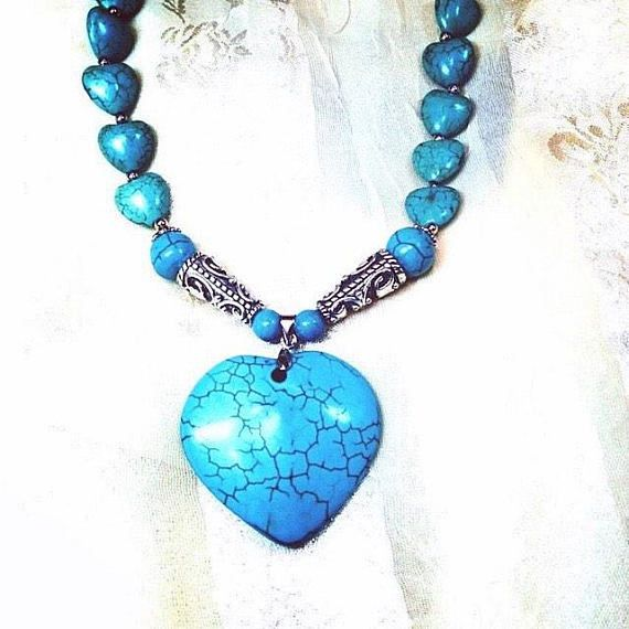 Turquoise Howlite Heart Necklace Handmade by NorthCoastCottage Jewelry Design & Vintage Treasures. Here is a beautiful turquoise Howlite heart totaling 250 CT on an 18 necklace with sterling silver accents. A lovely gift for any occasion such as Mothers Day, Valentines Day,