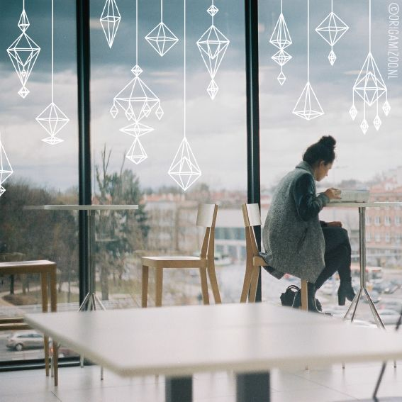 In Finland it is a tradition to make a straw Himmeli for a Christmas decoration. The geometric designs are so gorgeous and modern, and they fit perfectly in every interior. But if you're not a DIY wizard, we got you covered! Draw these beautiful Himmeli designs on your window, perfect all year round. #windowdrawing #raamtekening