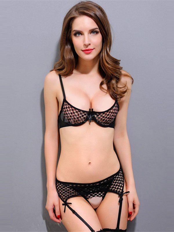 4cfc53d994097 Black Mesh Bikini Sexy Bow Semi-sheer Bra Set  Bikini