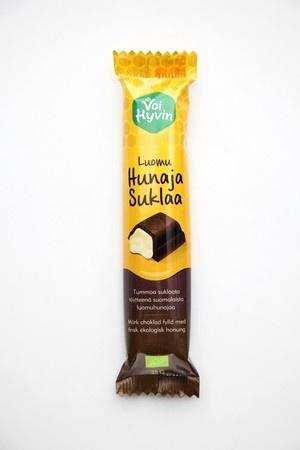 Voi hyvin- hunajasuklaa on ainutlaatuinen suklaapatukka, joka on herkullinen yhdistelmä voimakkaanmakuista tummaa suklaata ja lempeää luomuhunajaa.