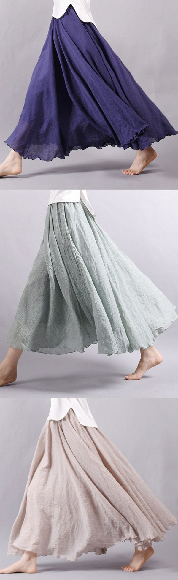 $20.06 Gracila Women Casual Loose Cotton Pure Color Skirt,casual skirt,loose maxi skirt,casual loose skirt,maxi skirt,skirt ideas,skirt design