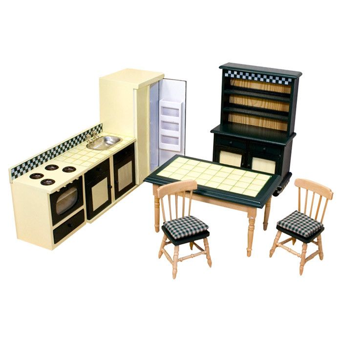 Features:  -Includes 2 chairs, kitchen table, sink and countertop, four burner…