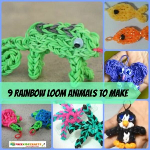 Rainbow Loom crafts are all the rage among kids right now. This collection of 9 Rainbow Loom Animals to Make will keep your little ones busy with hours full of Rainbow Loom fun! | AllFreeKidsCrafts.com