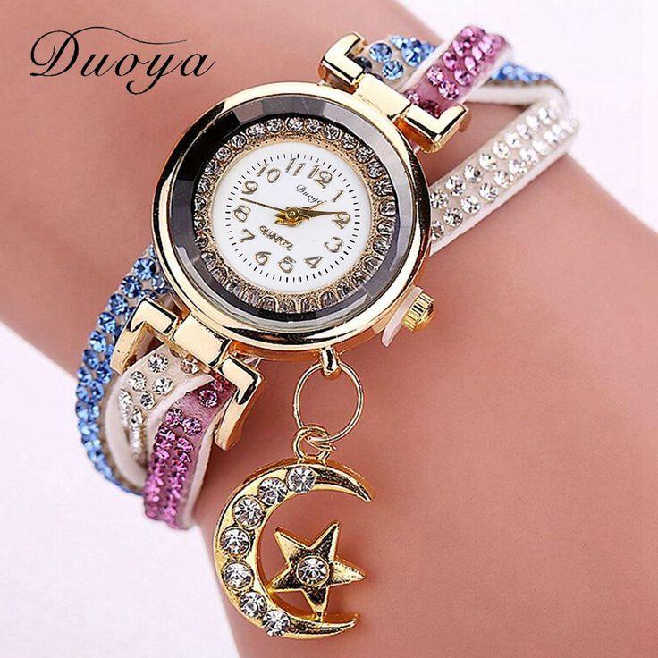 Goedkope Duoya Merk Horloge Vrouwen Goud 2016 Nieuwe Crystal Luxe Maan Hanger Lederen Armband Gift Fashion Casual Quartz Horloges, koop Kwaliteit vrouwen horloges rechtstreeks van Leveranciers van China: