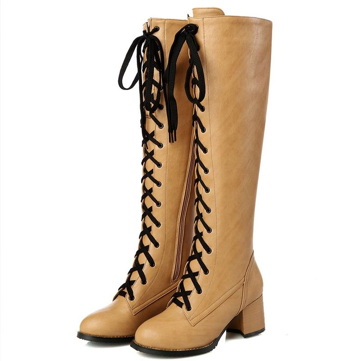 31.11$  Buy here - http://aligzc.shopchina.info/go.php?t=32715295661 - NEW Hot sale 2016 women lace up knee high boots rivets riding boots black leather tight high motorcycle boots for ladies ZT352 31.11$ #aliexpressideas