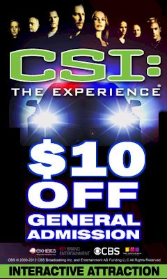 Free coupons for CSI The Experience in Las Vegas! Save with Free Discount Travel Coupons from DestinationCoupons.com!