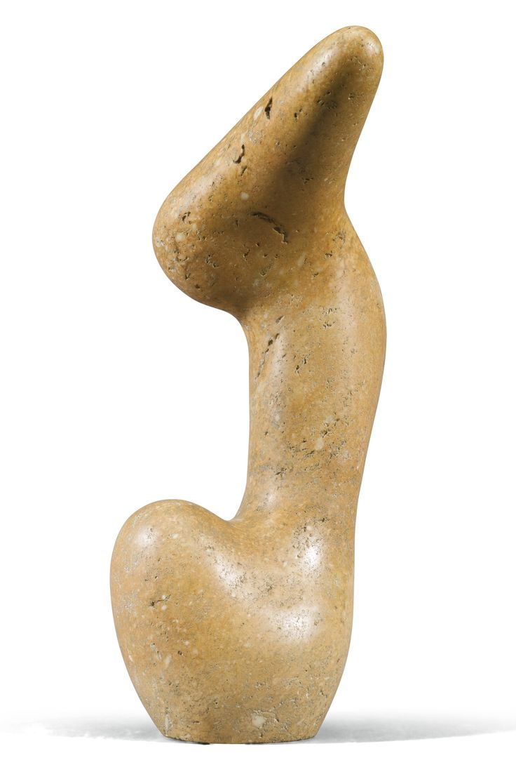 Jean Arp 1886-1966 HURLOU pink limestone, height: 49.5cm. Executed in 1951, this work is unique.