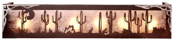 Saguaro Cactus 4 or 6 Light Vanity Box w/ Burnished Steel Overlay image of Saguaro Cactus desert with moon in ...