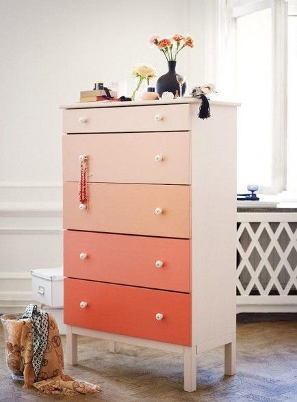 best ikea hacks. Take a paint swatch, ask for samples of each shade. Paint cheap Ikea dresser.