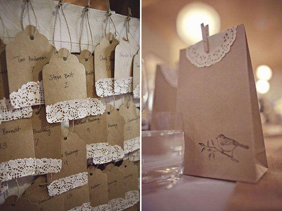 Decoraci�n sencilla para bodas con blondas de papel