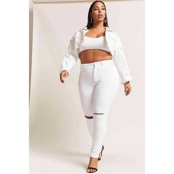 Forever21 Plus Size High-Rise Ripped Knee Denim Jeans ($35) ❤ liked on Polyvore featuring jeans, white, white ripped jeans, high-waisted jeans, high waisted destroyed jeans, high rise white jeans and white distressed jeans
