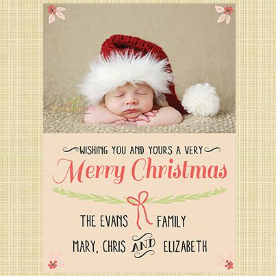 New Baby Girl/Boy Christmas Card  Vintage by HaileyBerryDesign