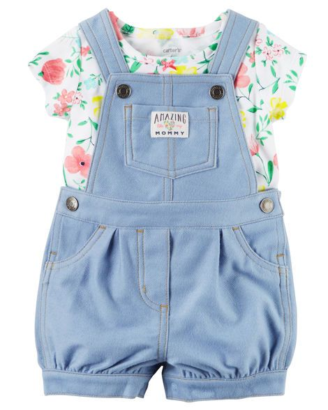 Crafted in knit-like denim, these cozy shortalls are made to be played in! A sweet satin bow adorns the coordinating soft cotton tee.