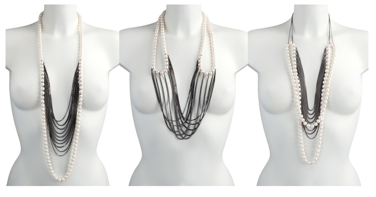chained | Melanie Georgacopoulos  Versatile necklace with 10mm white fw pearls on silver oxidised chains