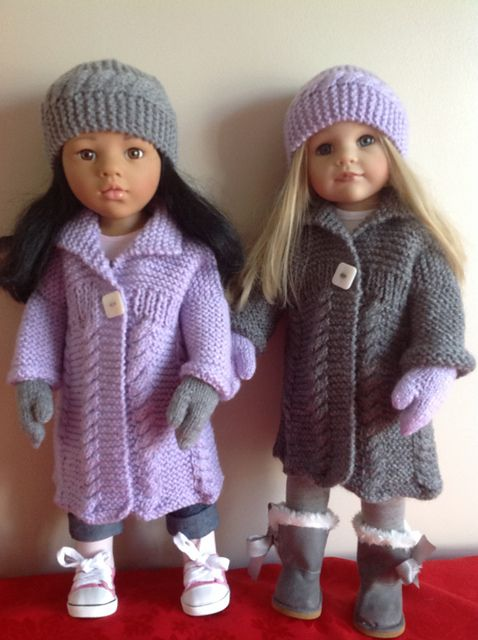 """Ravelry: Cable coat for 18"""" dolls pattern by Knitting Nanny Mo"""
