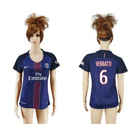PSG Fotbollskläder Kvinnor 16-17 #Verratti 6 Hemmatröja Kortärmad,259,28KR,shirtshopservice@gmail.com