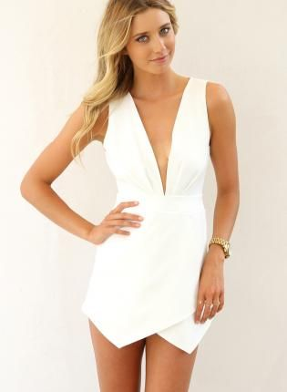 White Sleeveless Overlay Playsuit with Open Cutout Back,  Other, open back  sleeveless  romper, Chic