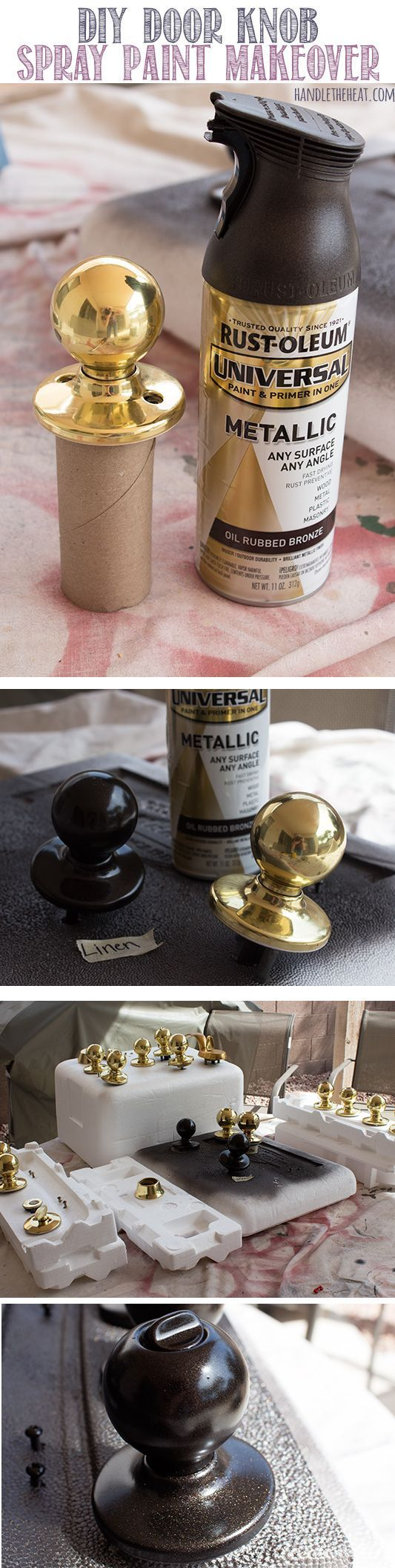 Don't buy new (and expensive) door hardware - paint it! DIY Door Knob Spray Paint Makeover