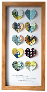beautiful framed vintage papers heart cutouts. super cute. most made with old vintage childrens books, and some include text at the bottom. : Vintage Heart, Vintage Books, Vintage Paper, Vintage Children Books, Gifts Ideas, Paper Heart, Books Heart, Heart Boxes, Books Crafts