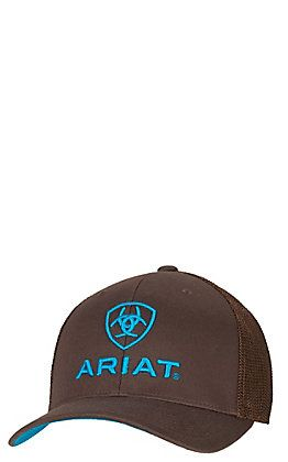 Ariat Brown with Turquoise Logos Mesh Side Flex Fit Cap