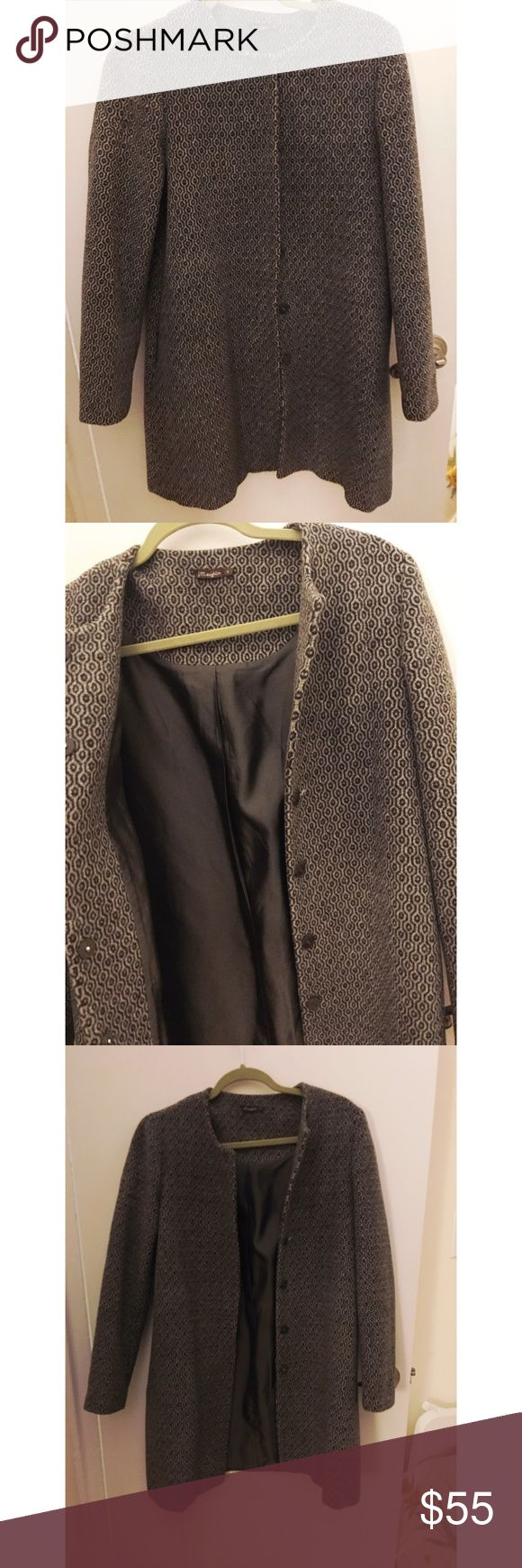 Long wool patterned coat Beautiful warm coat. Similar in style to uniqlo coats- very in style right now. Super expensive originally! Let me know if you have questions! Missing one button easy to repair. Doesn't rlly affect function ability. Reflected in price! J. McLaughlin Jackets & Coats
