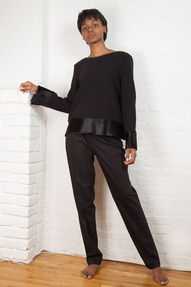 Double Knit and Calf Hair Top