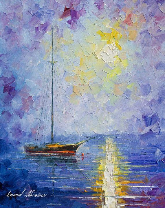 Día sin viento violeta mar náutica de espátula por AfremovArtStudio