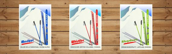 Skier vintage CUSTOMIZED PRINT with your by KeepMakingSmiles