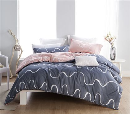Dorm room bedding, blue room theme, blue comforter set, gray comforter, set, pink comforter set, white room theme, perfect college bedding, twin xl