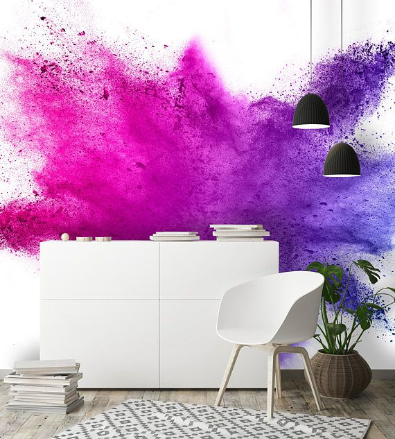 Removable Wallpaper Mural Peel Stick 3d Explosion Of Colored Etsy Mural Wallpaper Removable Wallpaper Wallpaper Bedroom Feature Wall