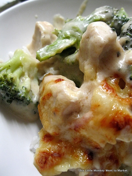 Classic recipe for Chicken Divan.  It's pretty good; I used fresh broccoli and it was still too crunchy, but this recipe overall is better - no canned soup!