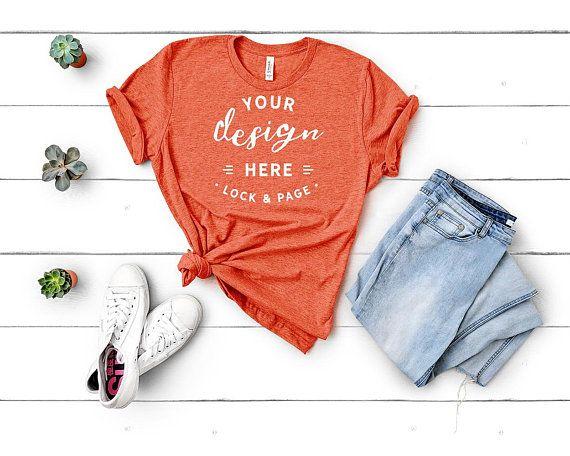 45238314249ca2 Bella Canvas 3001 Heather Orange Unisex T-Shirt Flat Lay Mockup Blue ...