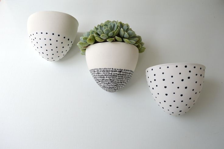 Image of Ceramic  Wall Planter white with half black dots