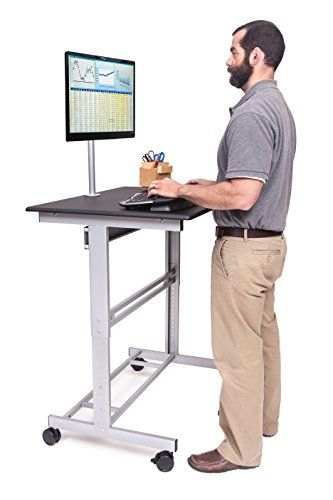 40 Quot Mobile Adjustable Height Stand Up Desk With Monitor