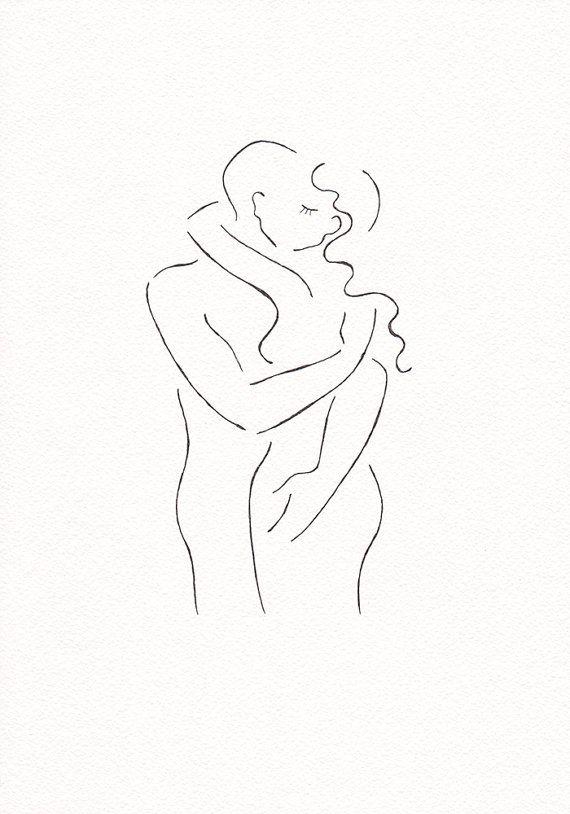 Zwart-wit inkt tekenen schets van twee naakte figuren zoenen. Man en vrouw illustratie naar slaapkamer decor.