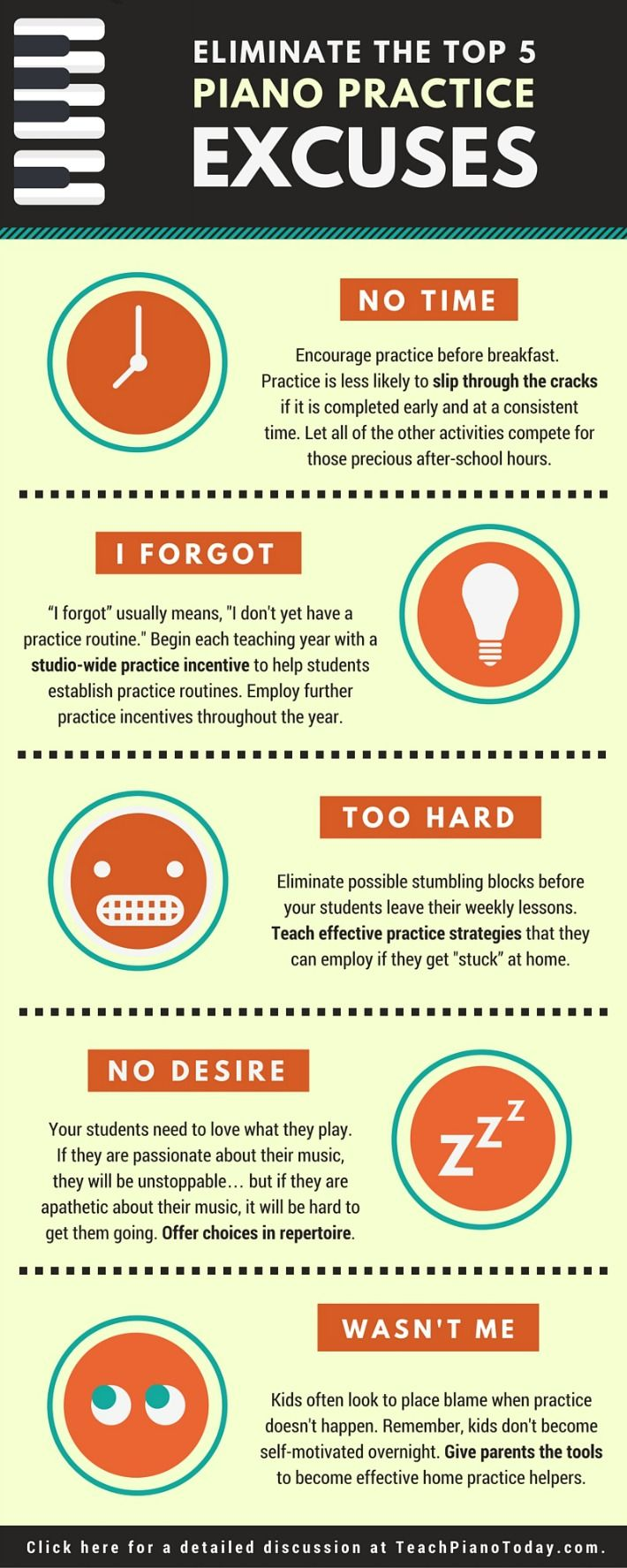 The top 5 Piano Practice Excuses... and what to do about them! Click the image for an in-depth discussion on the blog.