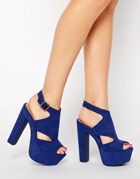 I'm wearing these to my sister reception!  Sweeper Blue Platform Heeled Sandals