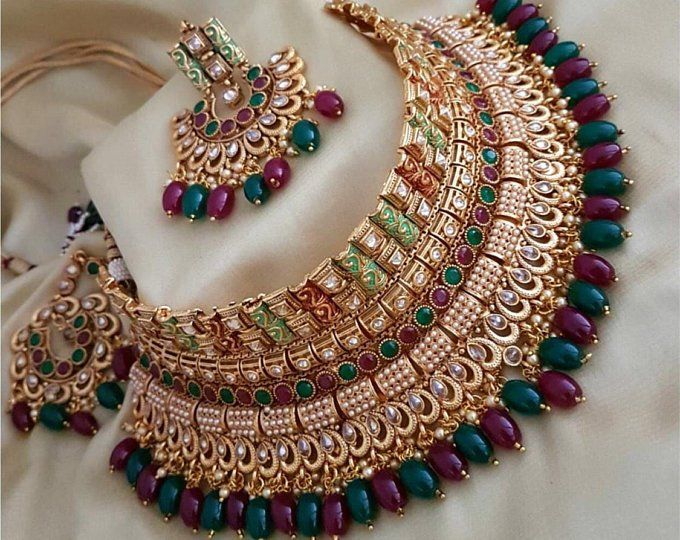 SILVER GOLD -CZ American Diamond Necklace Set
