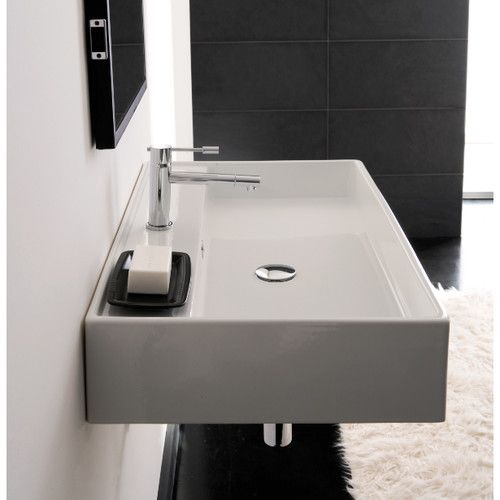 Teorema Ceramic 24″ Wall Mount Bathroom Sink with Overflow