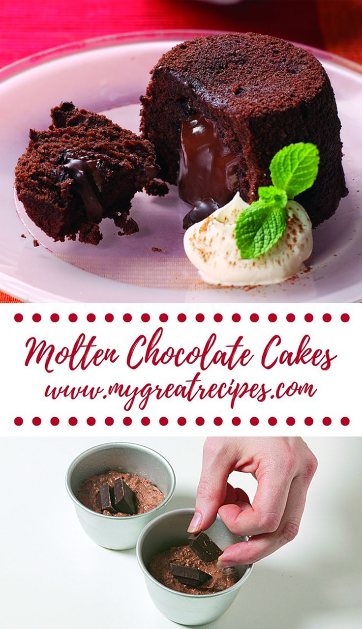 Impossible to resist, these heavenly #chocolate #cakes with an irresistible melted chocolate center will be the star of your next dinner party.