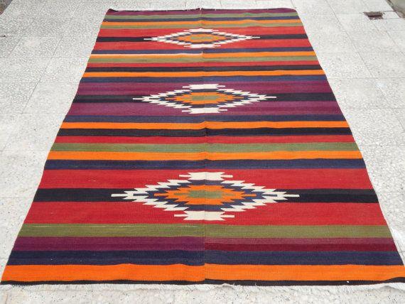 Southwestern Rug Handwoven Turkish Kilim Rug for by HANDSONHIPS