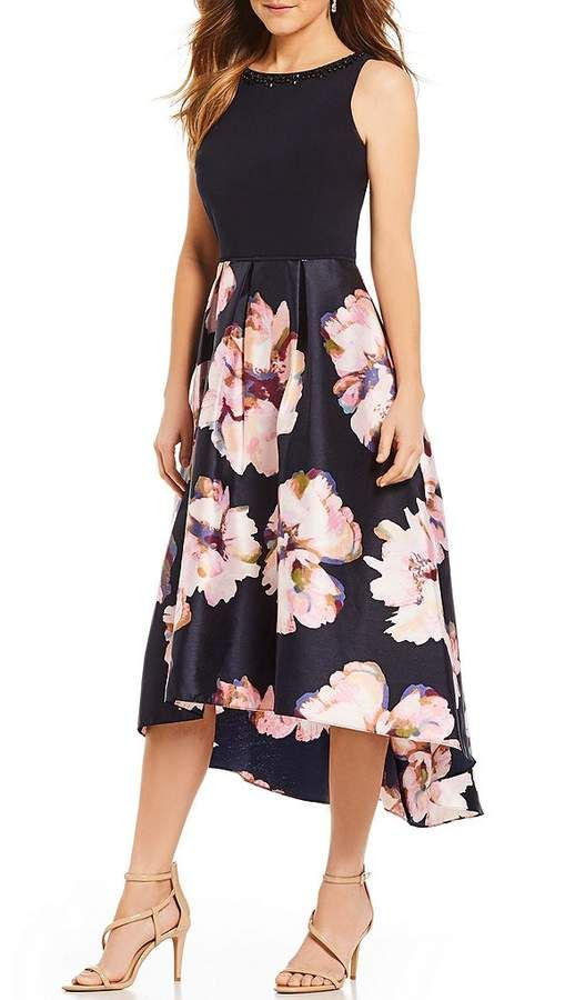 b6e33703b9df Ignite Evenings Mikado Floral Print Hi-Low Midi Dress | Bridal ...