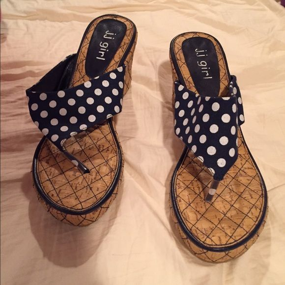 Polka dot navy wedges Cute navy and white polka dot wedges. Not too high, cute and summery! Goes great with white pants. J.J Girl Shoes