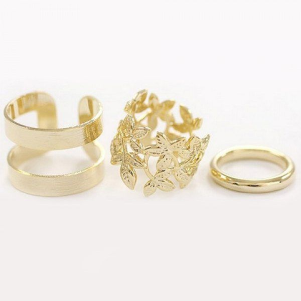 3PCS of Exquisite Leaf Pattern and Round Rings For Women, GOLDEN, ONE SIZE in Rings | DressLily.com