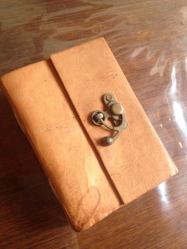 small handmade leather journal